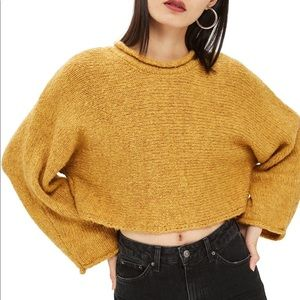 Topshop Mustard Gold Cropped Roll Neck Sweater